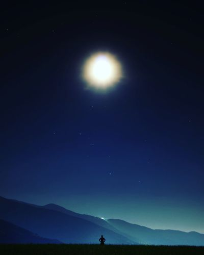 People Silhouette Nature Outdoors Scenics Beauty In Nature Night Star - Space Landscape Moon Clear Sky Sky Mountain Astronomy Space Adult