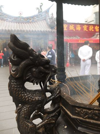 Temple Worship Censer Smoke Dragon Symbol Street Photography Taipei Taiwan