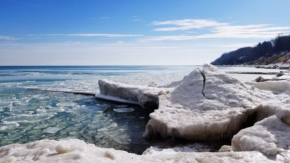 Ice Volcano Lakeshore Lake Michigan Cold Temperature Snow Winter Ice Nature Sea Tranquility Outdoors Sky Beauty In Nature Frozen No People Scenics Day Water Beach Landscape Horizon Over Water
