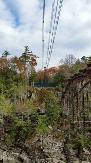 Power Lines Rope Swing Broken Bridge Architecture Details Rusted No People Outdoors Beauty In Nature Changing Seasons Leaf Peeping Autumn Collection Fall Colors New England  New Hampshire, USA Foliage, New England Decaying Beauty Perspectives On Nature Autumn Forest Landscape Precarious Multi Colored LeavesChanging