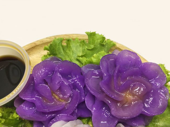 flower shaped chicken dumpling , chor muang Chicken Chor Chor Muang Close-up Dessert Porn Dumplings Flower Food Food And Drink Health Healthy Healthy Eating Meal Purple Rosé Shaped Studio Shot Sweet Food Thai Vegetable White Background