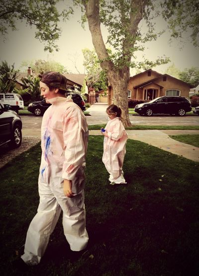 Two People Easter Eggs Easter Bunny White Suits Childhood Full Length Tree Togetherness Child Grass Trees
