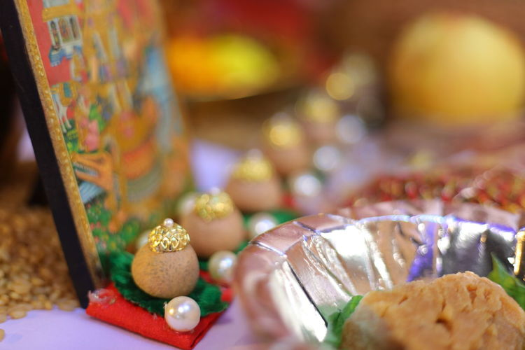 Close-up of candies on table