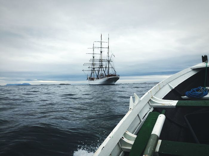 KNM Stadsraad Lehmkuhl (1914), as seen from my own (older) boat Cloudy Sky Norway Huawei Norwegian Pride Old Technology Rustic Rough Sea Weather Sailing Ship Tall Ship Water Nautical Vessel Sea Harbor Mast Ship Sky Sailing