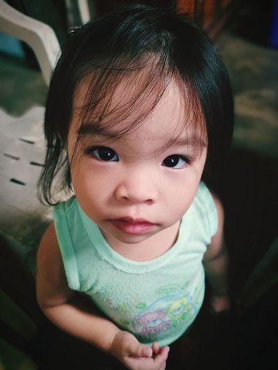 High angle portrait of cute girl
