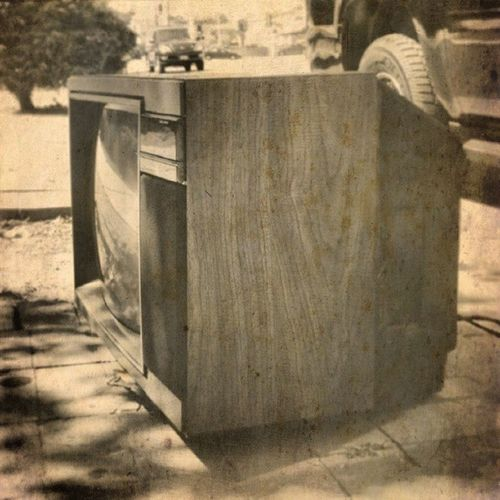 Obsolete! Trashed Tossed Old Obsolete curbside sidewalk fakewood TV instaSize