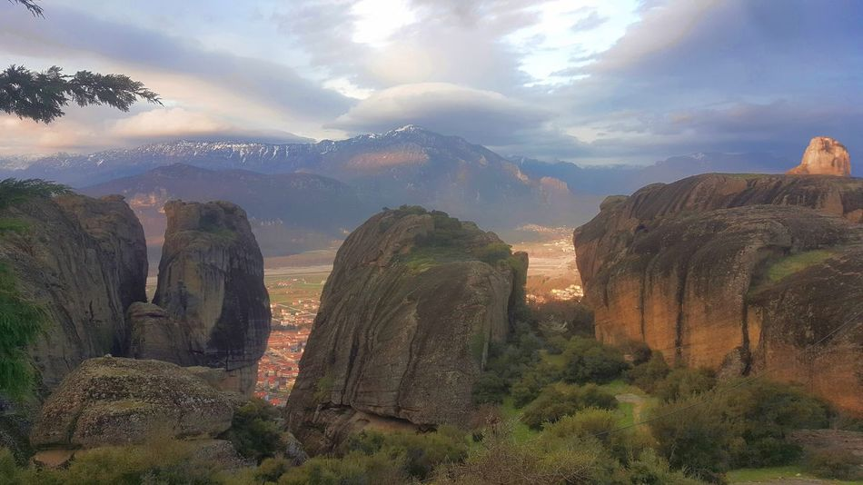 Meteora, Greece GREECE ♥♥ Mountain View Beauty In Nature Cloud - Sky Clouds And Sky Day Geology Greece Kalampáka Landscape Mountain Mountains Nature No People Outdoors Physical Geography Rock - Object Scenics Sky Tranquil Scene Tranquility
