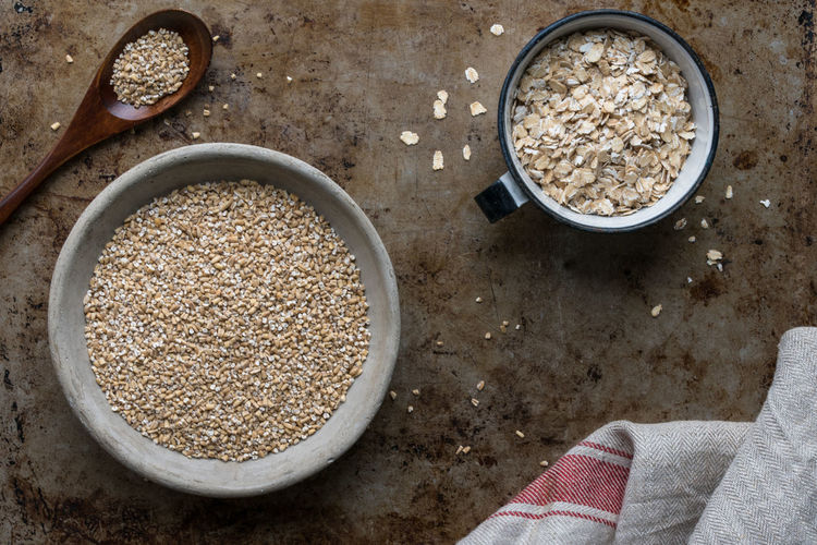 Steel Cut and Rolled Oats Food And Drink Food Directly Above Bowl Healthy Eating Ingredient No People Oats - Food Oats Macro Isolated Nobody Rolled Oats Oatmeal Steel Cut Oats