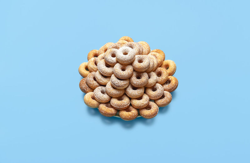 High angle view of cookies against blue sky