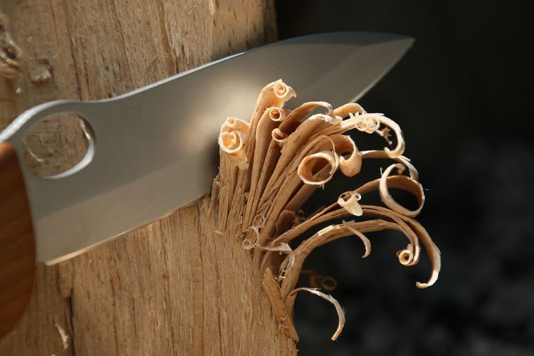 Close-up of knife with wood shavings