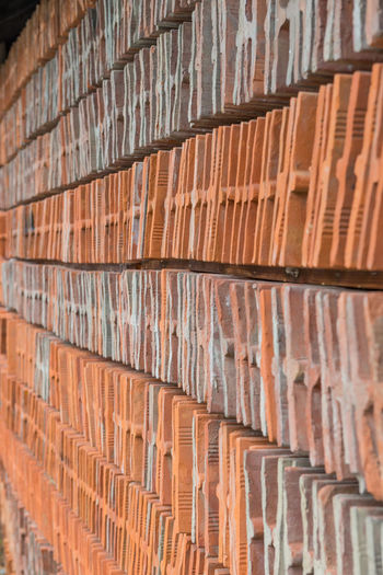 stack of roof bricks Abstract Architecture Backgrounds Brick Wall Close-up Day Full Frame Indoors  No People Roof Bricks Roof Tiles Stack Texture