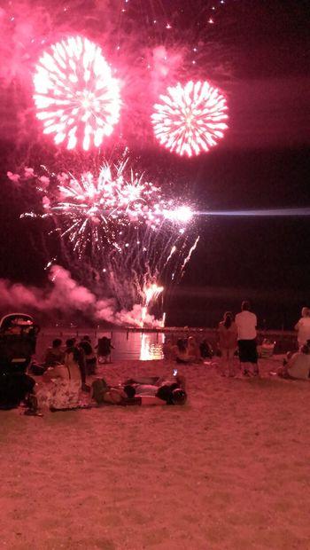 Fireworks on the pier,Beach view,Sky smiley