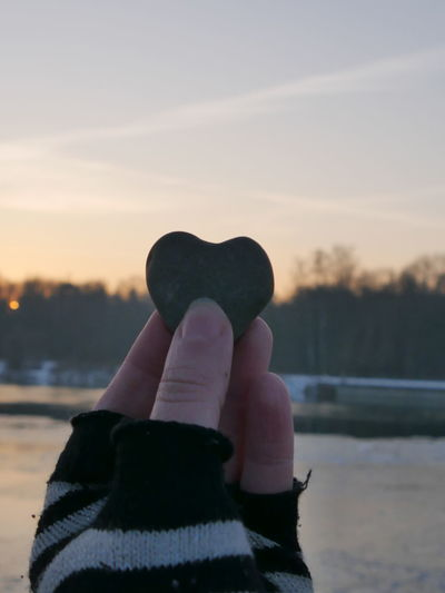 Frozen River Hand Heart Lech Love Nature Outdoors Point Of View Postcard POV River Rock Show Love Sky Soul Soulmate Stone Stone Heart Sundown Sunrise Sunset Winter Winter Wonderland