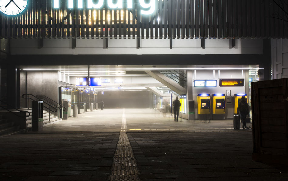 Architecture Built Structure Destination Unknown Early Fog Foggy Morning Going To Work Illuminated Indoors  Local Motion Night Public Places Public Transport Tilburg Train Train Station Trainstationclock Trainstations Transportation Travel