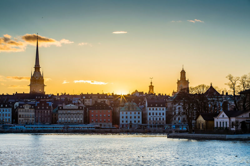 German church in town by riddarfjarden during sunset