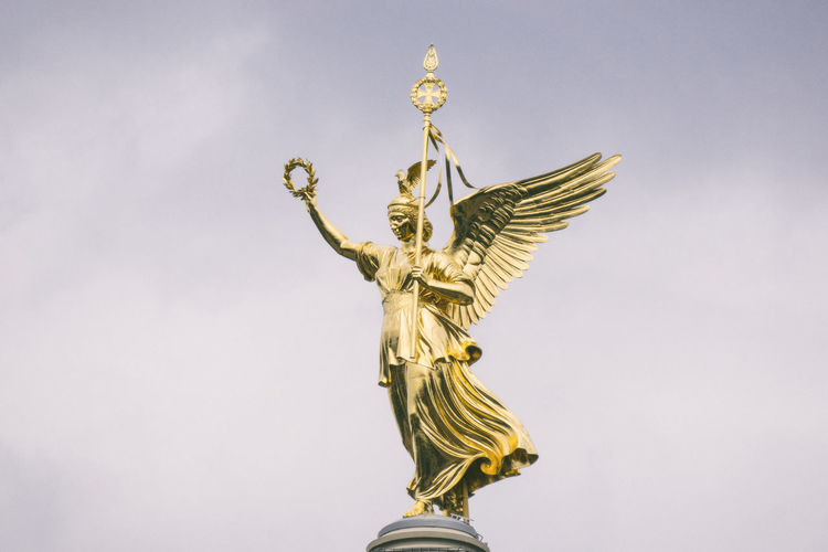 Victory Column Berlin Germany 🇩🇪 Deutschland Horizontal Victoria Close-up Day Gold Gold Colored Human Representation Laurel Wreath Low Angle View No People Outdoors Sculpture Sky Statue Victory Column