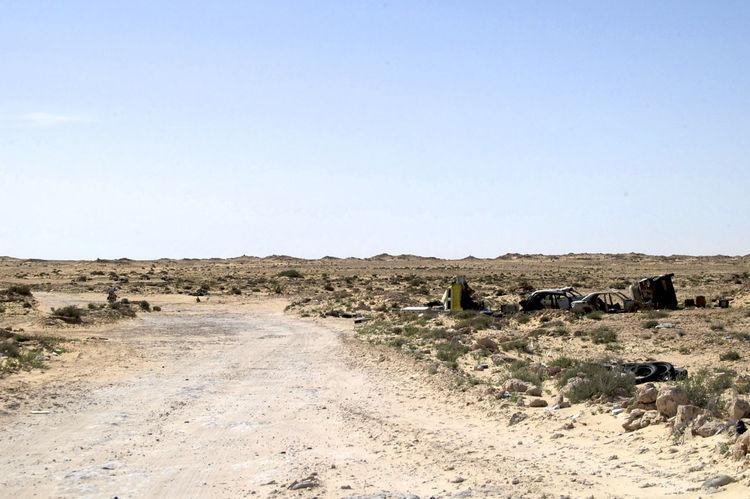 No mans land on the border between Western Sahara and Mauritania. West Africa Africa Barren Barren Landscape Border Landscape Mauritania No Mans Land Outdoors Sahara Tranquil Scene Western Sahara