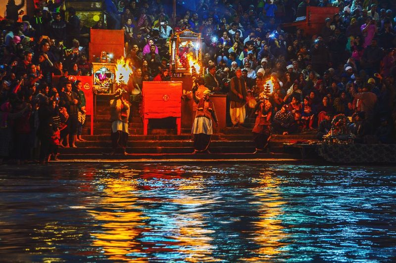 People worshiping the holy ganga