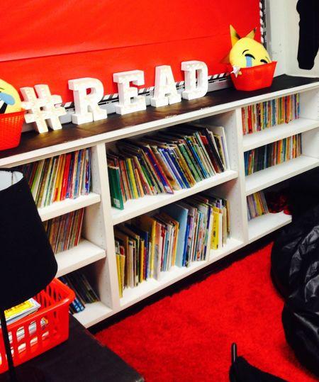 Get ready to read! Bookshelf Arrangement Library School Classroom Centers Shelf Teach Read Reading