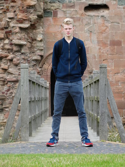 Blonde Boy Blue Bridge Castle Casual Clothing Confidence  Full Length Jeans Men Person Scotland Standing Tantallon Castle Young Men The Purist (no Edit, No Filter)