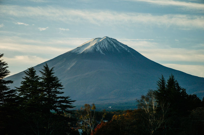 Scenic View Of Mt Fuji Against Sky During Sunrise
