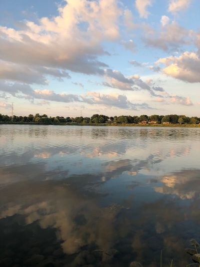 Cloud reflections Blue Sky Water Reflections Horizon Over Water Reflections In The Water Sky Water Cloud - Sky Reflection Beauty In Nature Scenics - Nature Tranquility Nature Sunset Tranquil Scene No People Lake Idyllic Tree Environment Outdoors Day Waterfront Plant Lagoon