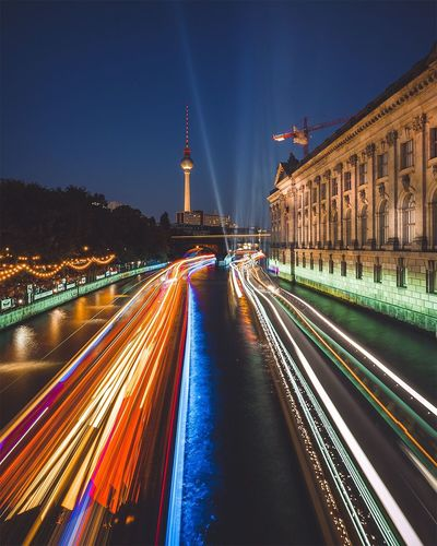High Angle View Of Light Trails On Street By Bode Museum Against Sky At Night