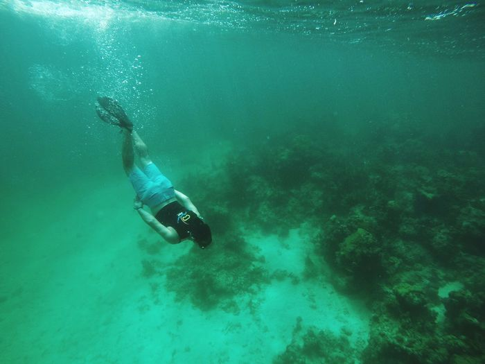 Underwater UnderSea Adventure Scuba Diving Real People Exploration Swimming One Person Water Leisure Activity Sea Full Length Scuba Diver Nature Beauty In Nature Men Day Outdoors People