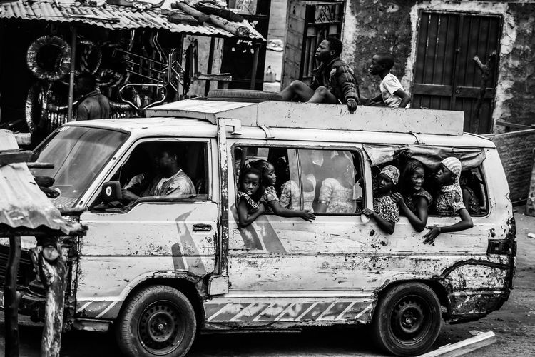 Wedding carriage in Bamako Car Day Land Vehicle Mammal Men Mode Of Transport Outdoors People Real People Transportation Black And White Friday