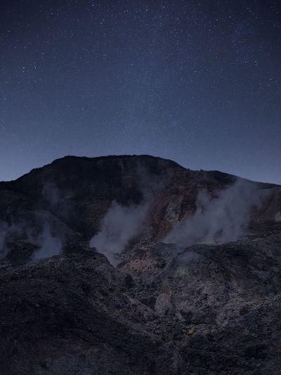Beautiful night at mountain papandayan, indonesia