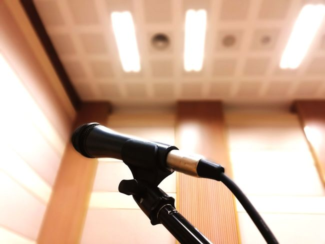 The power in the hall Stage Fright Knowledge Ask Questions Microphone Auditorium Close-up Architecture Built Structure Speech Public Speaker