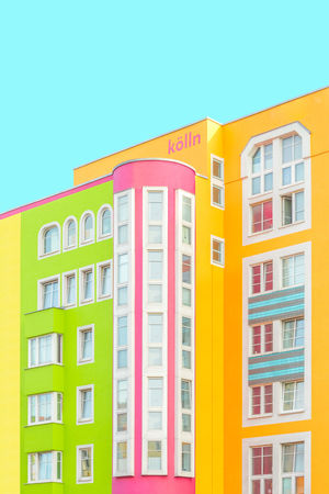 Architecture Architecture_collection Façade From My Point Of View Pastel Power Perspective Vivid Colours  Architecture Building Exterior Built Structure Clear Sky Colour Of Life Copy Space Day Green Color Multi Colored No People Outdoors Pastel Sky Window Yellow The Graphic City
