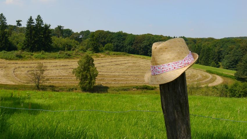 Break Nature Nature's Diversities Naturelovers Agriculture Agricultural Land Working On The Field Figures Sunhat Flower Ribbon Working On Field Flowers, Nature And Beauty Eyem Gallery EyeEm Gallery Harvest Harvest Time Fence Post Wodden Post