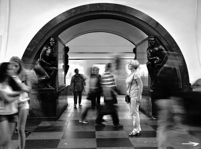 Moscow, Москва People Travel Black And White Photography Streetphoto_bw Streetphotography Walking Panning Shoot Street Life Photo Metropolitan Metro Station Russian