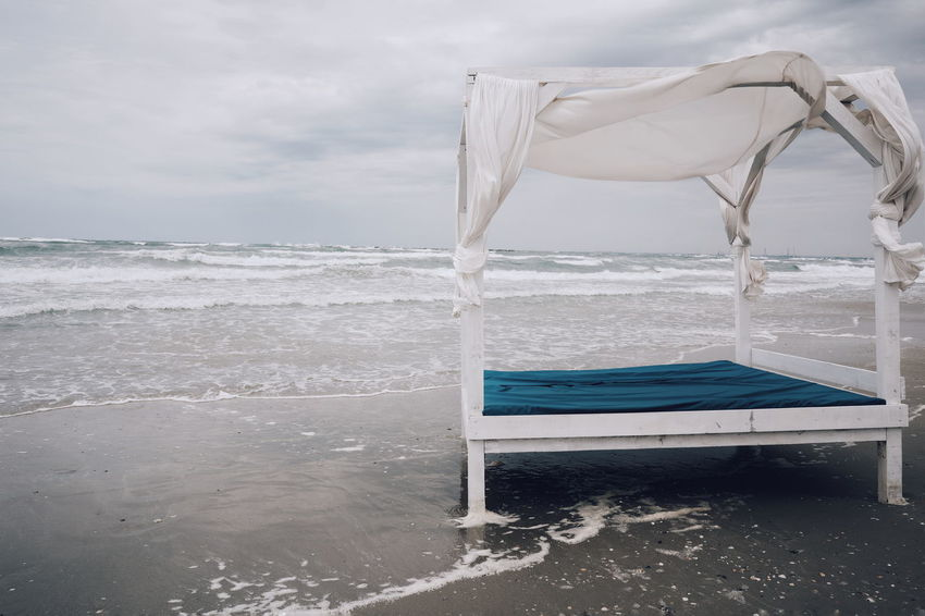 Sun Lounger Bed Nature Sun Bed No People Water Sea Beach Sky Cloud - Sky Horizon Over Water Storm Cloud Rushing Storm Overcast Wave Weather Rainy Season The Great Outdoors - 2018 EyeEm Awards The Traveler - 2018 EyeEm Awards