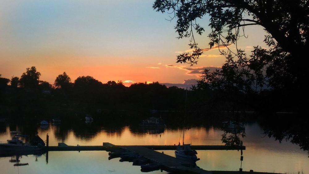 Sunset in Connecticut. Reflection Sunset Lake Silhouette Tree Sky Water Tranquility Scenics Nature Dusk Outdoors Beauty In Nature Landscape Sunset Silhouettes Sunset_collection Boats Dock Cove Wethersfield Cove Connecticut River Connecticut Connecticut Life Connecticut Sky Sunset Over Water