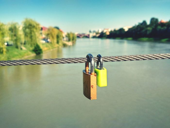 Padlock Lock Metal Water Love Lock Hope - Concept Bridge - Man Made Structure Hanging Chain Luck Outdoors Day River Lent Drava