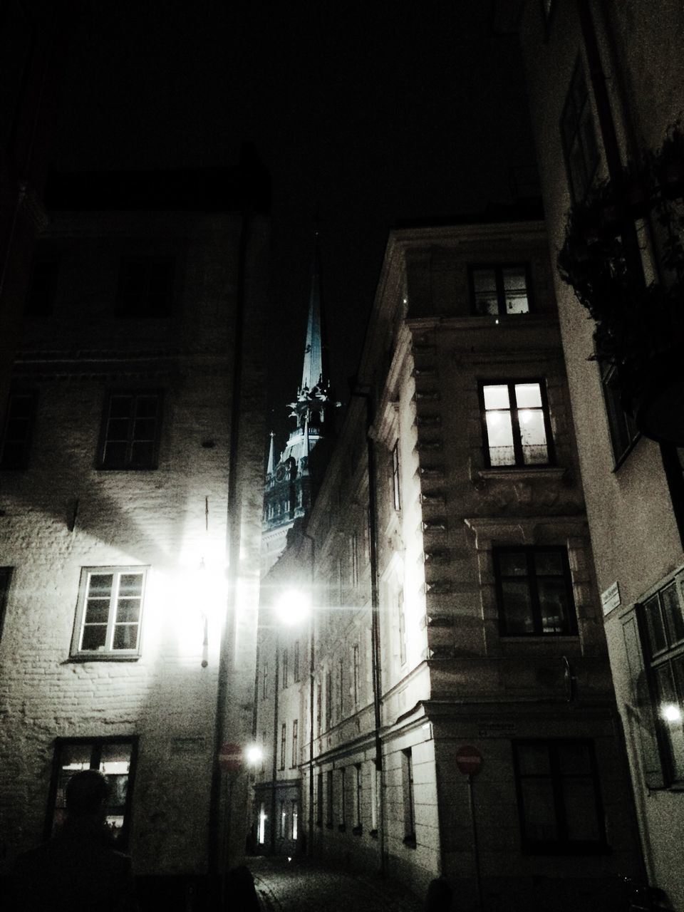 architecture, building exterior, illuminated, built structure, night, low angle view, street light, window, no people, outdoors, city, sky
