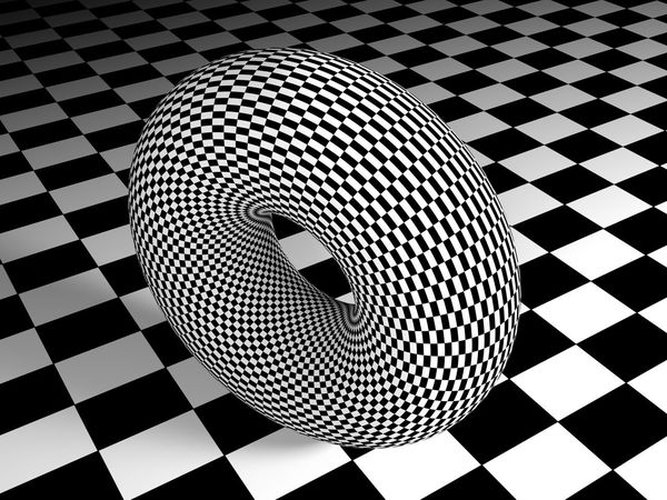 A torus having a black and white square texture stands on a surface having the same texture - 3D rendering illustration 3d Rendering Curve Deformation Lines Perspective Physics Science Text Torus Abstract Algebra Black And White Calculus Circle Concept Design Geometric Shape Geometry Illustration Mathematics Pattern Single Object Surface