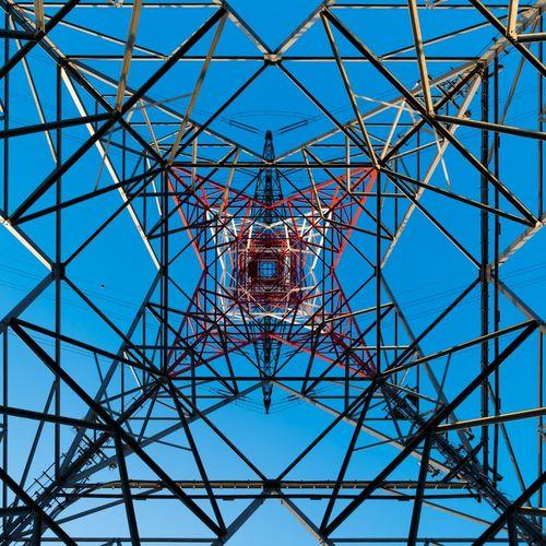 Electricity  Lines Shapes Symmetry High Voltage Sky Pylon