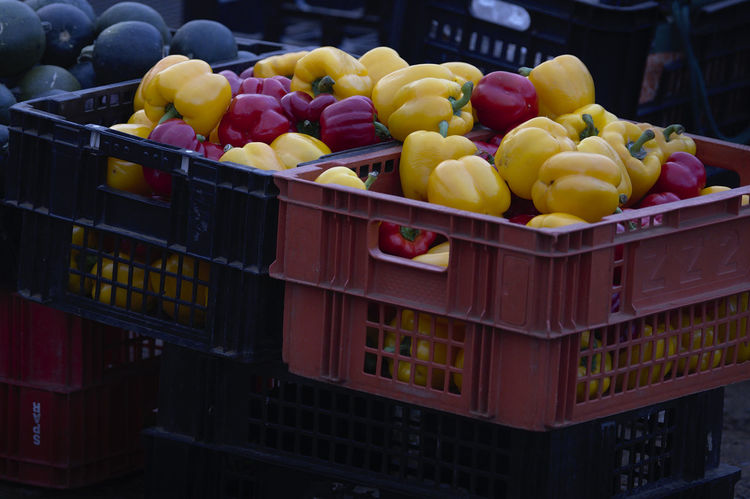 Food Healthy Eating Container Retail  Freshness Large Group Of Objects Wellbeing Market Stall Crate For Sale Box Choice Business Yellow Retail Display Yellow Pepper