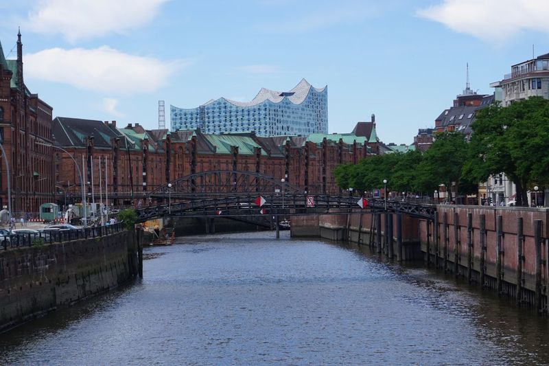 Speicherstadt Hamburg Hamburg Architecture Built Structure Building Exterior Sky City Cloud - Sky Water Building Nature Waterfront Transportation Residential District Street Canal Day Bridge Connection No People Reflection Outdoors