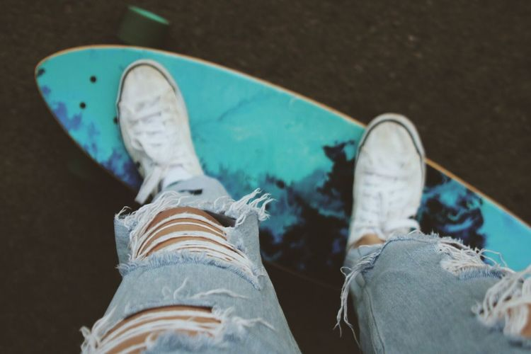 Shoe Human Leg Low Section Personal Perspective Canvas Shoe Jeans Human Body Part Human Foot One Person Skateboard Real People High Angle View Close-up Standing Lifestyles Men Indoors  Day Skateboard Park People