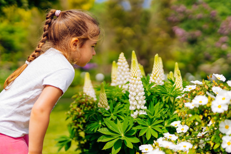 Side view of woman against white flowering plants