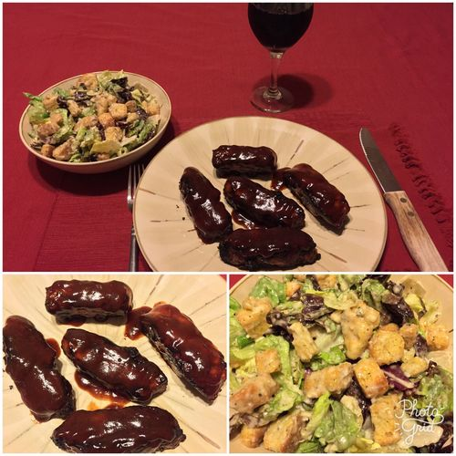 Tonight, I grilled BBQ boneless pork spare ribs. Served with a nice salad and my homemade 2015 Italian Amarone wine. ICanCookMyAssOff ItsAnItalianThing Grilling Ribs HomemadeItalianWine Nomnombomb MyFoodPics Food Porn Awards Food And Drink Food And Drink