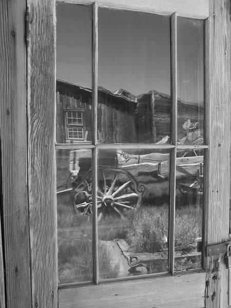 Bodie Bodie Ghost Town Window Reflections Reflections Wagon  Black And White Photography Northern California Ghost Town