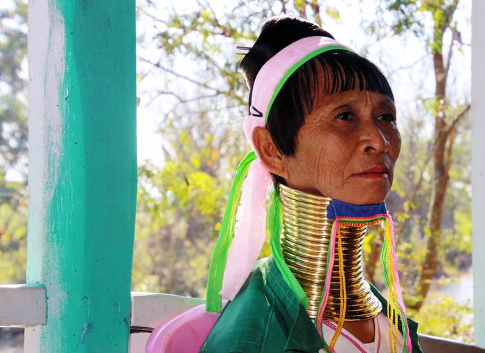 Long Neck Woman Inle Lake Long Neck  Long Neck Tribe Lake River Inle Lake Myanmar Long Neck Woman One Person Portrait Focus On Foreground Day Headshot Hat Clothing Real People Looking Nature Front View Close-up Knit Hat