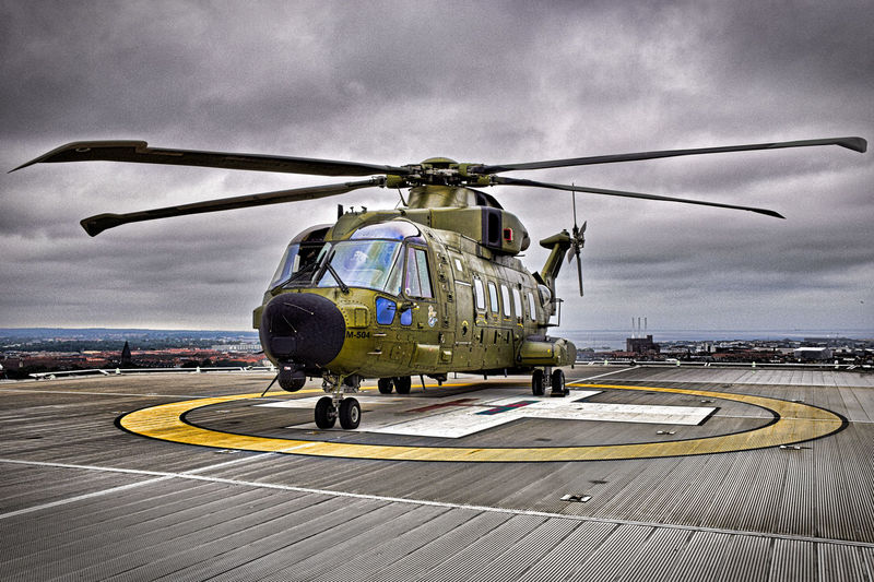 Cloudy Copenhagen Helicopter Helipad Helipadonroof Rescuehelicopter