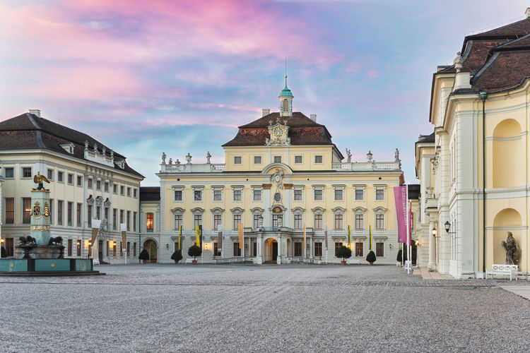 LUDWIGSBURG, GERMANY - OCTOBER 25, 2017: During sundown the inner yard of the castle glooms in the residual sun light Autumn Castle Castle Of Ludwigsburg Light Baroque Blue Sky Building Exterior Colorful Heritage Historic Scenics Travel Destinations