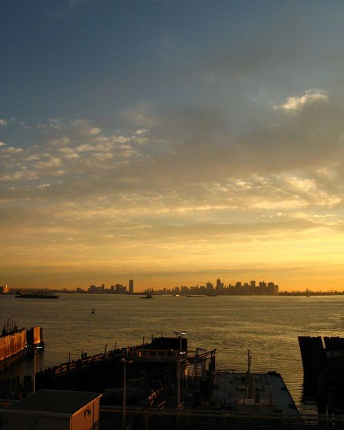Architecture Beauty In Nature Building Exterior Built Structure City Cityscape Cloud - Sky Harbor Nature Nautical Vessel New York Harbor No People Outdoors Scenics Sea Silhouette Sky Sunrise Water